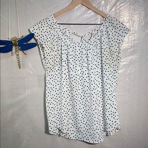 Lauren Conrad polka dot tie back blouse